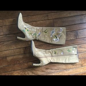 Fendi embroidered tan suede boots